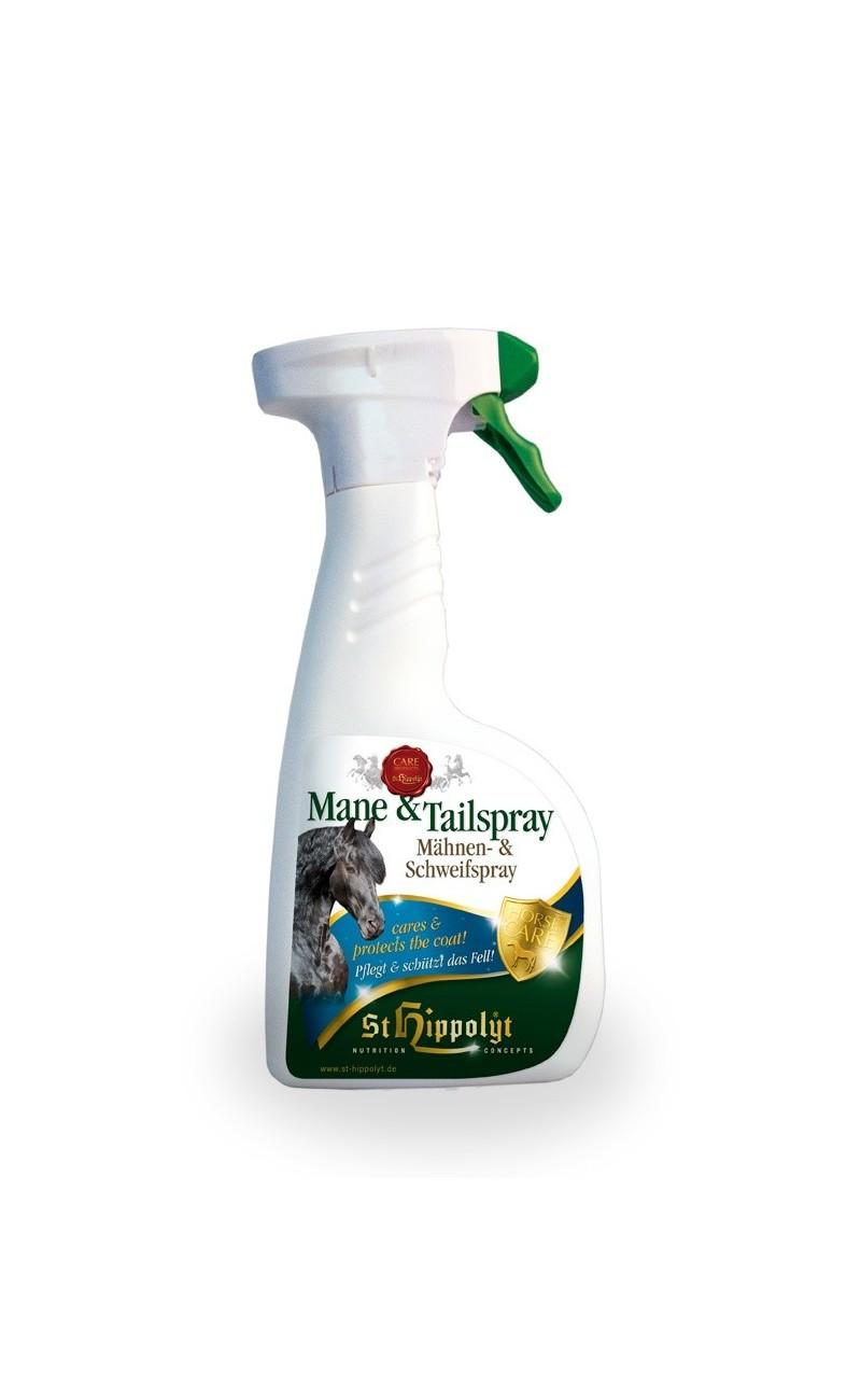 Spray para crines St Hippolyt protege de la deshidratacion y fortalece el pelo del caballo.