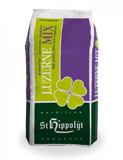 Forraje seco para caballo Luzerne MIX de St. Hippolyt. Compuesto de alfalfa y avena verde.